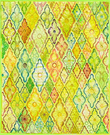 Art Quilt CITY IN GREEN by Melody Crust